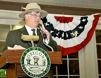GARY ALLEN - Doug Wilson, historical archaeologist for the National Park Service, speaks during the Champoeg Founders' Day celebration Saturday at the state heritage area. The event celebrates the 173rd anniversary of the vote to create a provisional government in Oregon.