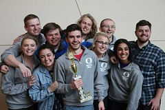 SUBMITTED PHOTO - 2014 WLHS graduate Riley Olson (blue jacket) and the University of Oregon mock trial team finished 19th in the nation this season.