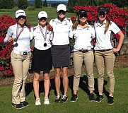 COURTESY PHOTO: JOE GIRRES - Pictured, from left: Isabel Jory, Morgan Hall, Macy Gray, Ali Jacobson and Bailee Magnuson took second to defending Class 4A/3A/2A/1A Girls' Golf Region 1 champion Crook County and qualified for state on Monday at Meriwether National Golf Club in Hillsboro and on Tuesday at Quail Valley Golf Club in Banks.