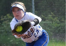 THE OUTLOOK: PARKER LEE - Barlows Rachel Loeb makes a catch at first base, as the Bruins started the second cycle of the MHC schedule with a home win over Gresham.