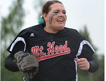 THE OUTLOOK: DAVID BALL - Mt. Hood CC ace Kayla Byers trots back to the dugout after striking out a batter to end an inning during a 5-2 win over Clackamas last week.