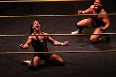 TRIBUNE PHOTO: DAVID BLAIR - Drama plays out in the ring at Moda Center on Saturday during a WWE NXT wrestling card, as  American Alpha defends its tag-team title.