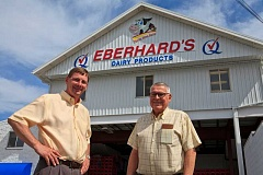 PHOTO COURTESY OF EBERHARD'S DAIRY - Eberhard's Dairy owners Mark and Bob Eberhard continue to operate the family-owned business based in Redmond. The dairy recently won state and national awards for their dairy products.
