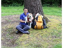 COURTESY PHOTO - Lisa Goyne of Portland and her Beagle are gearing up to hike the Pacific Coast Trail in support of her favorite charity, Cascade Beagle Rescue. Beagles are a breed used in animal experimentation.