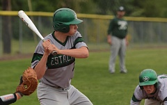 ESTACADA NEWS: DAVID BALL - Jordan McDaniel steals home with teammate Lane Sittner watches a pitch come in. The play provided the mercy-rule run in the third inning.