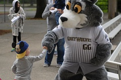 SANDY POST: PARKER LEE - A young fan gets a fist-pump from GreyWolves mascot GriGio during Saturdays FanFest at Oslund Field.