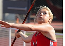 THE OUTLOOK: DAVID BALL - Corbett junior Rhiley Fritz prepares to launch a throw on her way to the Tri-Valley javelin title Friday. Her six attempts were the farthest throws of the competition.