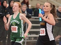 THE OUTLOOK: DAVID BALL - Damascus Christians Ashlynn Jones duels Ruth Meeker of St. Stephens on the way to the finish line in the 400-meter relay Saturday.