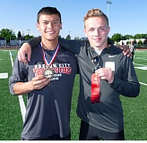 JOHN DENNY - Willamette Striders Track Club teammates Maxter Heirendt (left) and Anatoliy Gamza went one-two respectively in the pole vault at last weeks Mt. Hood Conference District Championships, both athletes clearing a personal best 13-11.
