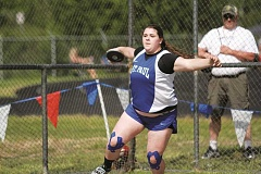 PHIL HAWKINS - St. Paul senior Emma Coleman qualified for the state track meet in both the discus and the shot put, breaking her own school record in the latter with a throw of 38-01.
