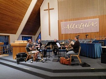 SUBMITTED PHOTO - The brass quintet performing on Sunday at the Going Boldly concert at Lake Oswego United Methodist Church  includes Scott Winks, Greg Garrett, Dan Partidge and Andy Harris.