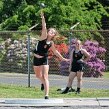 SPOTLIGHT PHOTO: JAKE MCNEAL - Indians sophomore Mackenzie Ela came up third in the girls' shot put at 34 feet, 4 inches, helped the 400 relay team to a third-place, school-record 50.61 seconds, was fourth in the triple jump (29-10.5) and took fifth in the 100 hurdles (17.63) at the Cowapa League Track and Field Championships on Friday, May 13, at Scappoose High.