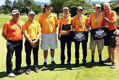 COURTESY PHOTO: BRIAN GRAY - From left, Scappoose boys' golf coach Steve Hagen, Braxton Sue, Andrew Kercher, AJ Miltich, Jake Gray, Nathan Mapes and assistant coach Jeff Mapes celebrate the Class 4A Region 1 champion Indians' fourth-place 364-356-720 on Tuesday at Emerald Valley Golf Club in Creswell.