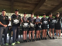 West Linn's Amanda Elich, Chloe Barnes, Maggie Peters, Katie Williams and Summer Marshall stand with their coaches and another state championsnip trophy at Quail Valley in Banks.