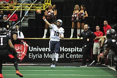 COURTESY: CLEVELAND GLADIATORS - Portland Steel quarterback Shane Austin gets off a pass during Monday's Arena Football League game. The Steel, who lost 55-48 in overtime, play Saturday on the road again, facing the Jacksonville Sharks.