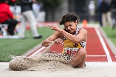NEWS-TIMES PHOTO: AMANDA MILES - Alyssa Villalobos of Forest Grove competes in the Class 6A girls long jump on Friday at Hayward Field in Eugene.
