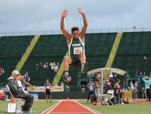 JIM BESEDA/MOLALLA PIONEER - Colton's Malik Knott finished second in the Class 3A boy's long jump finals with a mark of 21 feet, 5 3/4 inches Thursday at Hayward Field in Eugene.