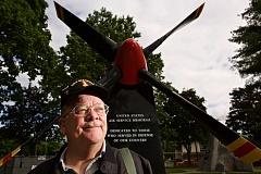 TIMES PHOTO: JAIME VALDEZ - Steve Gerber, post commander for American Legion Beaverton Post 124, stands in front of the U.S. Air Service Memorial at Veterans Memorial Park.