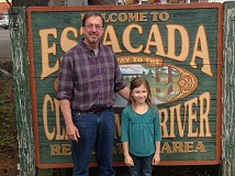 ESTACADA NEWS PHOTO: EMILY LINDSTRAND - Abigail Radford stands outside of Estacada City Hall with Mayor Brent Dodrill. Radford won the citywide If I Were Mayor contest and will now compete in the statewide competition.