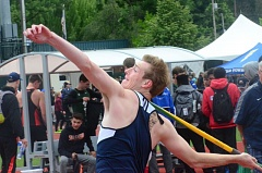 SPOKESMAN PHOTO: COREY BUCHANAN - Wilsonville senior Tyler Hieb captured the javelin state title one year after finishing second.