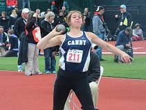 HERALD PHOTO: COREY BUCHANAN - Canby senior Skylee Doman qualified for the finals and finished in seventh place in the shot put.