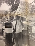 ARCHIVE PHOTO - In 1986, Citizens for Education organized a parade in support of the Estacada School Districts $4.7 million dollar serial tax levy. The efforts caught the attention of Oregon State Majority Leader Steve Starkovich, pictured here with Citizens for Education leader Rich Patton at the parade.