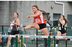 JIM BESEDA/MOLALLA PIONEER - Molalla's Desirae DesRosiers won the 4A girls' 300-meter hurdles state title during Saturday's OSAA track and field championships at Hayward Field in Eugene.