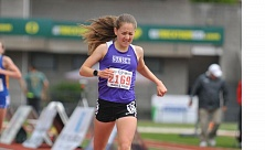 TIMES PHOTO: MATT SINGLEDECKER - Sunset freshman Ember Stratton took first in the 3,000 meters at the the Class 6A state championship meet on Saturday to help the Apollos place second as a team.