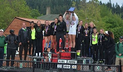 TIMES PHOTO: MATT SINGLEDECKER - The Jesuit girls track and field team won the Class 6A state championship with 65 team points on Saturday at Hayward Field.