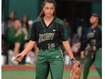 PAMPLIN MEDIA: DAVID BALL - Jesuit pitcher Olivia Strickland counts out a strikeout - one of 13 during the teams 11-0 win over Reynolds on Friday.