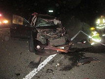 OREGON STATE POLICE - All six people in this 2009 GMC Acadia SUV were hospitalized following a two-vehicle crash on Hwy. 47.