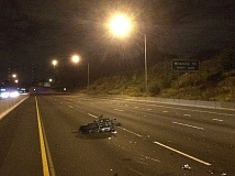 COURTESY BEAVERTON POLICE DEPARTMENT - A motorcyclist died Saturday night after apparently striking a semi-truck trailer's bumper and crashing on Highway 217.
