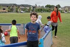 SPOKESMAN PHOTO: ANDREW KILSTROM - Gaga ball is all the rage with kids  these days, and thanks to fifth-grader Liam Anderson, students will enjoy the game for years to come.