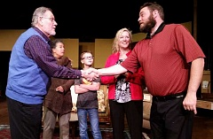 COURTESY PHOTO - Ethel (Anita Zijdemans Boudreau) and Norman (Joe Silver) meet Chelseas (Patti Speight) new boyfriend Bill (Jason Weed) and his son Billy (Sam Dennis) in Theatre in the Grove's production of 'On Golden Pond,' premiering June 3 at 7:30 p.m.
