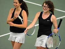 ESTACADA NEWS: DAVID BALL - Estacadas duo of Shanay Rodgers, right, and Mayla Morgan walk to the net to exchange handshakes after their loss in the doubles finale Saturday.