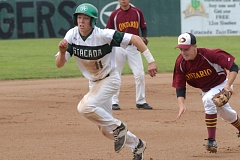 ESTACADA NEWS: PARKER LEE - Jordan McDaniel sprints for third base in an attempt to escape a rundown during last weeks 8-3 playoff win over Ontario.