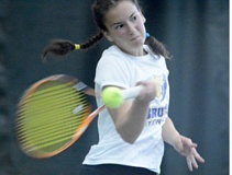 THE OUTLOOK: DAVID BALL - Barlow rookie Grace Maxey swings through on a forehand return during her 6-3, 6-2 opening round victory at the 6A state tennis tournament Thursday.