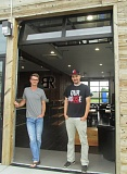 OUTLOOK PHOTO: SHANNON O. WELLS - Clay Geyer and Eddy Yunkherr show off the open-air option of their new Black Rock Coffee Bar franchise, which will open with fanfare and prizes on Friday morning at 24699 S.E. Stark St., Troutdale.