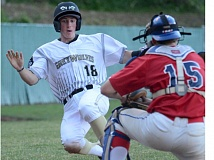 THE OUTLOOK: DAVID BALL - Gresham's Marc Mumper attempts to slide in during the team's fourth-inning rally. He was tagged out on the play, but not before the GreyWolves had built an early 4-0 lead.