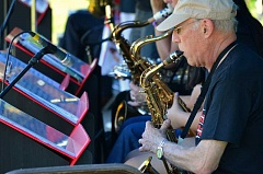 SPOKESMAN PHOTO: JAKE BARTMAN - The Portland-based Minidoka Swing Band, which performs in tribute to Japanese-Americans interned during World War II, performed at the Wilsonville Festival of Arts June 4.