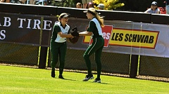 TIMES PHOTO: MATT SINGLEDECKER - Jesuits Hannah Malin (left) and Jaclyn Flood (right) were both first-team all Metro League outfielders who are coming back to the Crusaders next season.