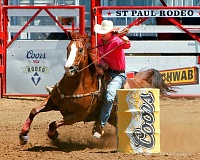 SUBMITTED PHOTO: HOOT CREEK - Callie DuPerier, the 2015 St. Paul Rodeo barrel racing champion, rounds the barrels at the 2015 St. Paul Rodeo.