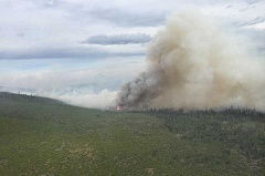 PHOTO COURTESY OF OREGON DEPARTMENT OF FORESTRY - The governor has declared the Akawana Fire, which is located west of Lake Billy Chinook, near the Three Rivers Recreation Area, a conflagration. The lightning-caused fire started June 7.