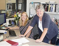 HOLLY M. GILL - Kathie Rohde, at right, Jefferson County's finance director since 1998, will retire at the end of June, giving her plenty of time to bring the new finance director, Brandie McNamee, at left, up to speed. A retirement reception will be held Wednesday, June 15.