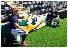 COURTESY PHOTO: MIRANDA LITTLE - Lions senior catcher Taylor Leal (left) and outfielder Ashley Giesbers (right) joined the Class 5A Senior All-Star North team on Saturday, June 4, and Sunday, June 5, at Jane Sanders Stadium at the University of Oregon in Eugene. The South won 17-7 on Saturday and 8-5 on Sunday.