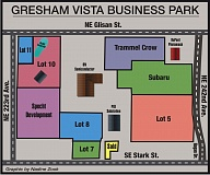 OUTLOOK GRAPHIC: NADINE ZOOK - This map shows the location of current construction of the Subaru distribution facility, in relation to the site of future development by Trammel Crow and Specht Development at the Gresham Vista Business Park.