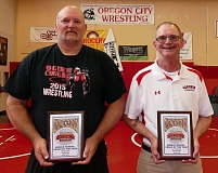 JOHN DENNY - The Oregon Athletic Coaches Association has honored Ogden Middle School wrestling coach Jim Marshall (left) and Gardiner Middle School coach Terry Heltsley as the 2016 Oregon Middle School Coaches of the Year.