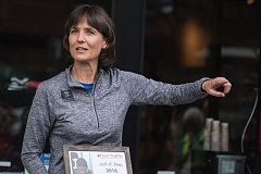 PAMPLIN MEDIA GROUP: CHASE ALLGOOD - Laurie Jenkins, who teaches physical education at Liberty High in Hillsboro, talks about the Liberty Fit running program for which she won a Hall of Fame award from Foot Traffic West during a ceremony Saturday in Cedar Mill.