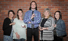 SUBMITTED - Jane Eilert (from left), Missy Love, Drew Gallagher, Maria Fuhrmann and Katie Worthington took home Crystal Apple awards June 15 for their outstanding service to the Newberg School District.