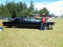 CONTRIBUTED PHOTO: JIM BELTRAMO - Larry Sullivan of Portland stands with his 1968 Cadillac Fleetwood 75 Formal Limousine at the annual American Legion car cruise-in on Saturday, June 18.  Sullivan won the Participants Choice award and the Just Cause Its Neat! trophy for his entry.